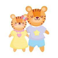 de volta às aulas, tigres bonitos crianças com desenhos de roupas vetor