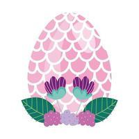 ovo de páscoa feliz decorado com forma de flores de escamas de peixe vetor