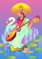 Deus Saraswathi vetor