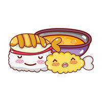 kawaii sushi tempura peixe e sopa de comida japonesa cartoon, sushi e pãezinhos