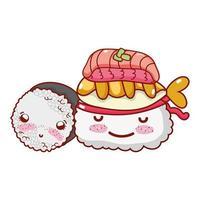 kawaii arroz sushi peixe comida japonesa cartoon, sushi e pãezinhos vetor