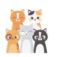 gatos me fazem feliz, muitos gatos de diferentes raças cartoon vetor