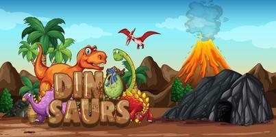 personagem de desenho animado de dinossauros em cena da natureza vetor