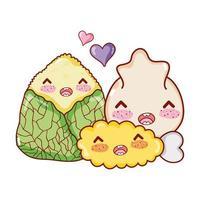 kawaii tempura bolinho e comida de arroz desenho animado japonês, sushi e pãezinhos