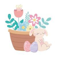 feliz dia de Páscoa, cesta de ovos de coelho dormindo com decoração de flores vetor