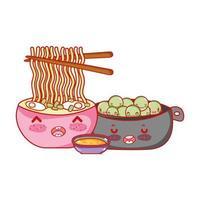 macarrão ramen kawaii ervilhas e comida japonesa cartoon, sushi e pãezinhos