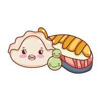 peixe kawaii sushi ervilhas e bolachas desenhos animados japoneses, sushi e pãezinhos vetor