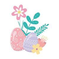 feliz dia de páscoa, ovos decorativos flores folhagem folhas cartão