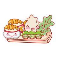 kawaii sushi bolinho ervilhas e comida japonesa cartoon, sushi e pãezinhos