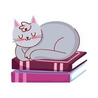 gato dormindo na pilha de livros, dia do livro