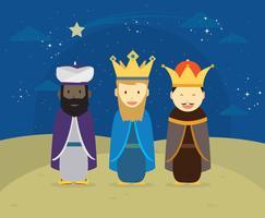 Três Reis com estrelas decorativas penduradas Ilustração vetor