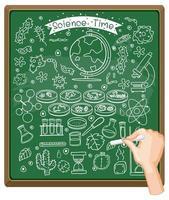 mão desenhando elemento de ciência no quadro vetor