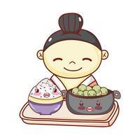 gueixa com tigela e arroz na bandeja de comida japonesa cartoon, sushi e pãezinhos