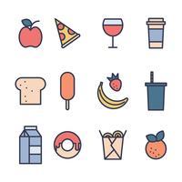 ícones de alimentos fofos vetor