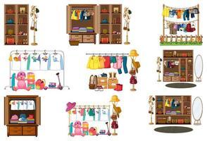 conjunto de roupas, acessórios e guarda-roupa isolado no fundo branco vetor