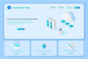 cabeçalho para o site do data center da plataforma e banner de serviços em nuvem vetor