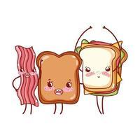 fast food e café da manhã sanduíche de pão fofo e desenho animado de bacon vetor