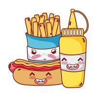 fast food fofa batata frita cachorro-quente e mostarda desenho animado vetor