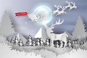 Feliz Natal e Feliz Ano Novo papel corte banner com veado vetor
