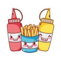 desenho animado de fast food com batatas fritas e molho de tomate vetor