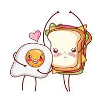 desenho de ovo frito e sanduíche de café da manhã vetor