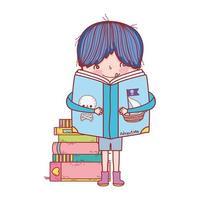 garotinho fofo lendo livros e piratas