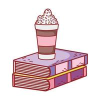 xícara de chocolate com granulado e livros didáticos