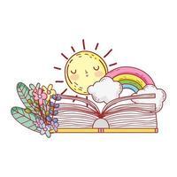 livro aberto arco-íris nuvens sol flores folhagem vetor