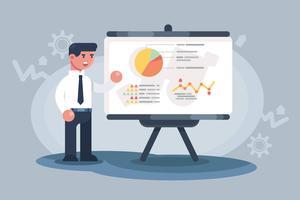 Trabalhador apresentando vetores de visualização de dados