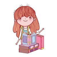menina bonitinha com livros estudando desenho animado