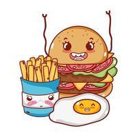 Desenho animado de ovo e hambúrguer com batatas fritas fast food vetor