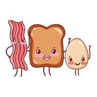 café da manhã fofo pão de bacon e ovo frito desenho animado kawaii vetor