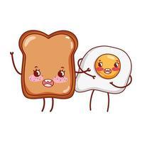 pequeno-almoço fofo ovo frito e pão cartoon kawaii vetor