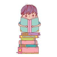 menino sentado com um livro aberto sobre livros empilhados