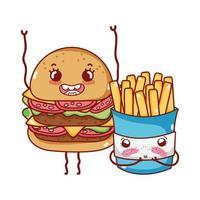 desenho animado de hambúrguer fast food fofo e batatas fritas vetor