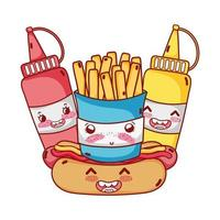 fast food fofa batata frita cachorro-quente mostarda e molho cartoon vetor