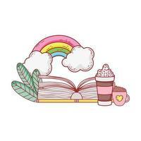 livro aberto copo de chocolate e desenho de grama arco-íris