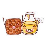 Waffle de fast food e personagem de desenho animado de abelha de garrafa de mel vetor