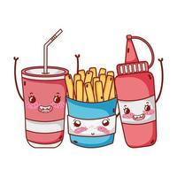 fast food fofo molho de batata frita e desenho em copo de plástico vetor