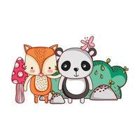 desenhos animados de animais fofos, panda e raposa borboleta arbusto sol vetor