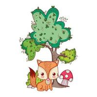 animais fofos, pequena raposa cogumelo árvore natureza cartoon vetor