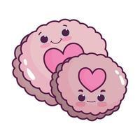 Cookies fofos com corações adoram sobremesa doce kawaii desenho isolado vetor