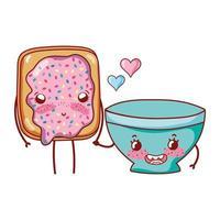 Pão fofo com café da manhã e tigela de desenho animado vetor
