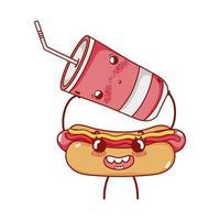 fast food fofo cachorro-quente e copo de plástico com desenho animado vetor