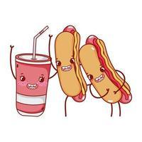 fast food fofos cachorros-quentes e desenho de copo plástico vetor