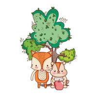 animais fofos, raposa e castor com desenho de maçã de árvore