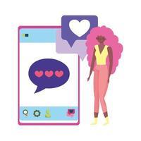 pessoas e smartphone, jovem usando amor por mensagens de texto no smartphone vetor