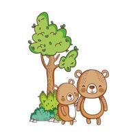 animais fofos, ursinhos desenho da natureza da árvore vetor