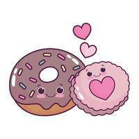 comida fofa donut de chocolate e biscoito amor coração doce sobremesa pastelaria desenho isolado desenho vetor