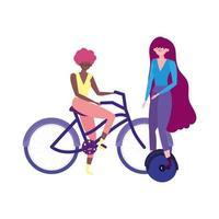 transporte ecológico, mulheres jovens andando de monociclo e bicicleta vetor